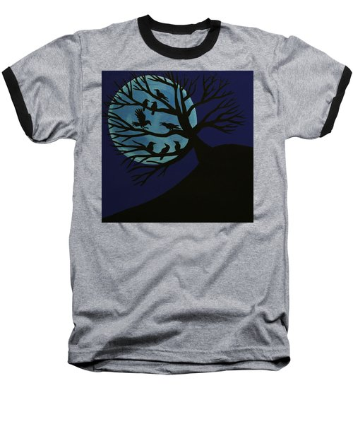 Spooky Raven Tree Baseball T-Shirt