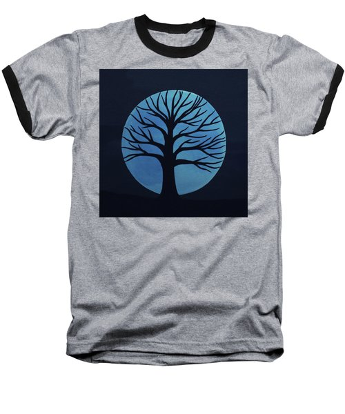 Spooky Tree Blue Baseball T-Shirt