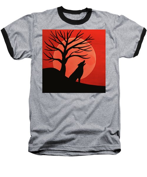 Spooky Wolf Tree Baseball T-Shirt