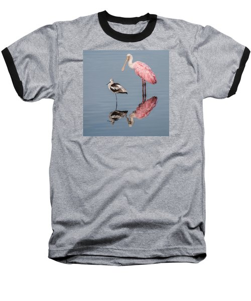Spoonbill, American Avocet, And Reflection Baseball T-Shirt