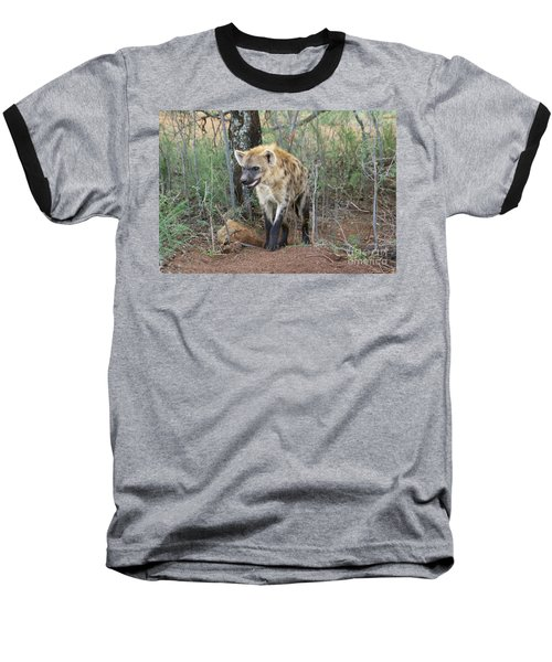 Baseball T-Shirt featuring the photograph Spotted Hyena by Myrna Bradshaw