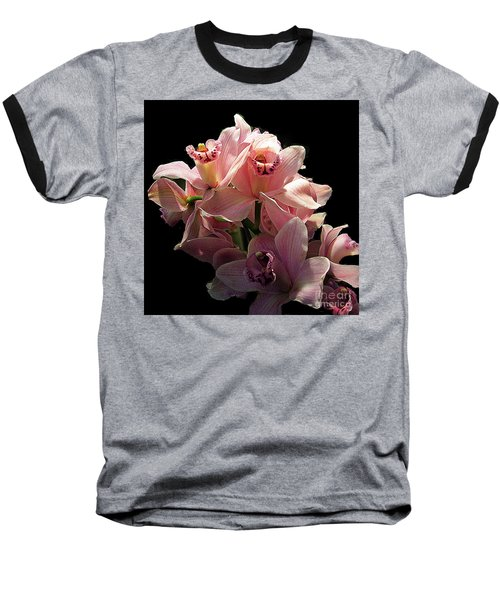 Spray Of Pink Orchids Baseball T-Shirt by Merton Allen