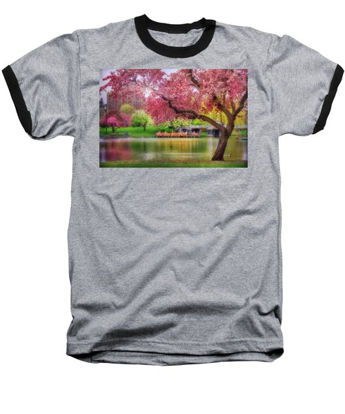 Baseball T-Shirt featuring the photograph Spring Afternoon In The Boston Public Garden - Boston Swan Boats by Joann Vitali