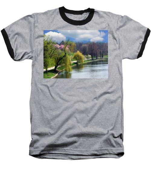Spring At The Lake Baseball T-Shirt by Judi Saunders