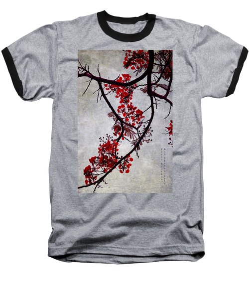 Spring Bloosom In Maldives. Flamboyant Tree II. Japanese Style Baseball T-Shirt by Jenny Rainbow