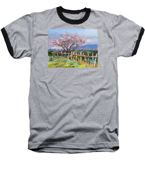 Spring Blossom Pallet Knife Painting Baseball T-Shirt by Lisa Boyd