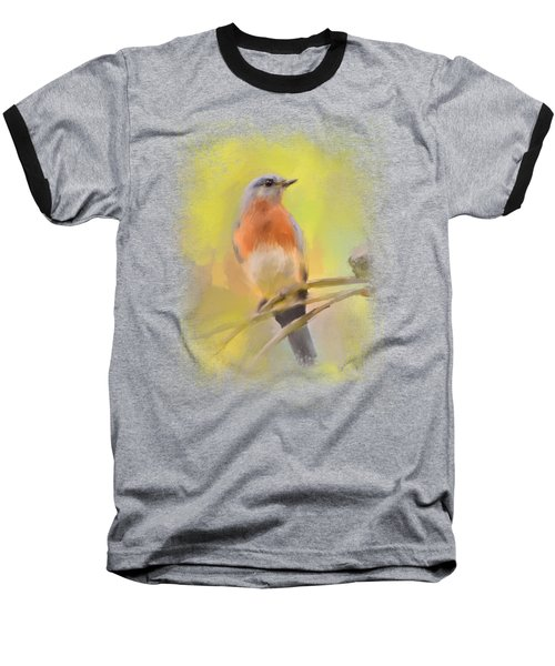 Spring Bluebird Painting Baseball T-Shirt by Jai Johnson