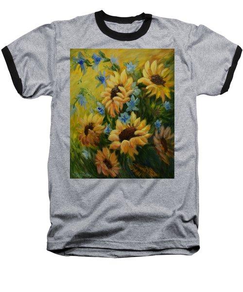 Sunflowers Galore Baseball T-Shirt by Joanne Smoley