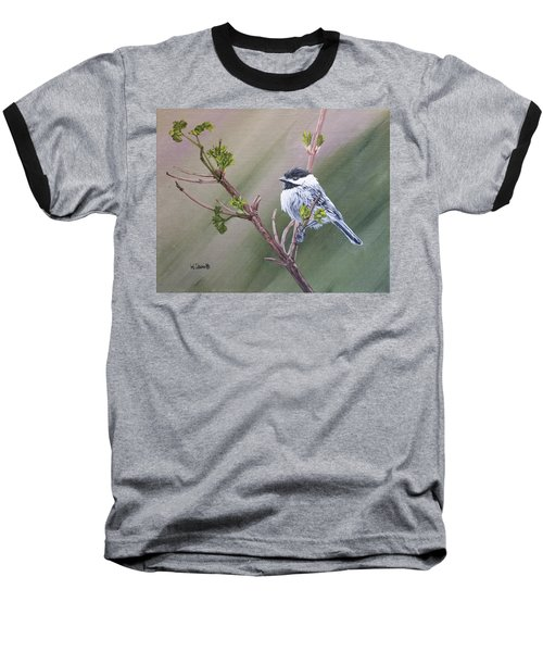 Spring Chickadee Baseball T-Shirt by Wendy Shoults