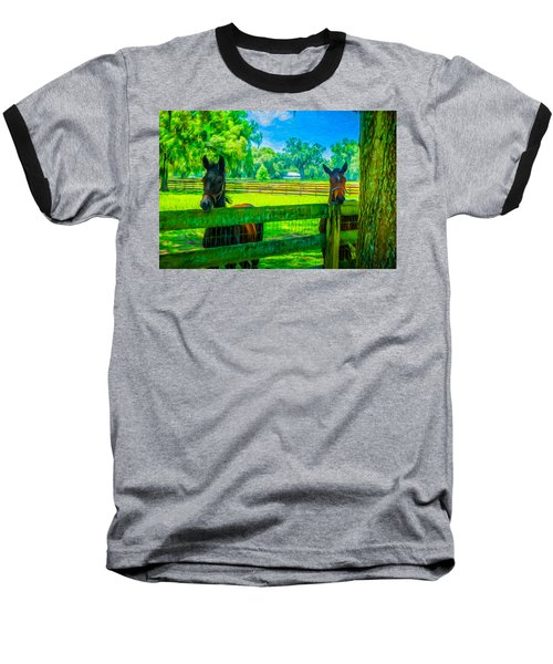 Baseball T-Shirt featuring the painting Spring Colts by Louis Ferreira