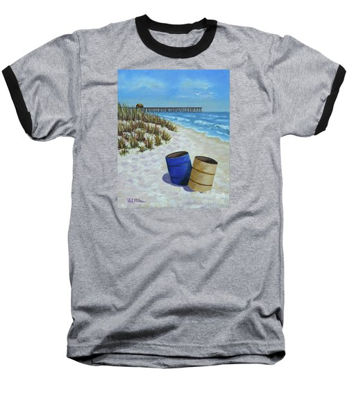 Baseball T-Shirt featuring the painting Spring Day On The Beach by Val Miller
