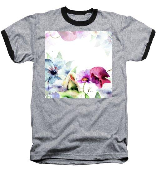 Spring Floral Background Baseball T-Shirt