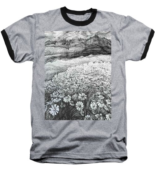 Baseball T-Shirt featuring the drawing Spring Flowers by Anna  Duyunova