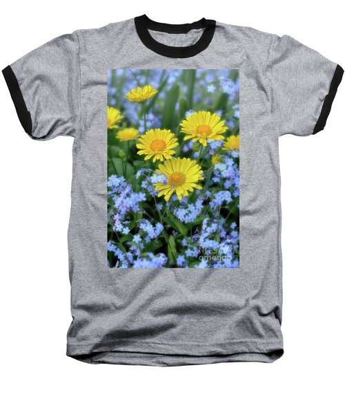 Baseball T-Shirt featuring the photograph Spring Flowers Forget Me Nots And Leopard's Bane by Henry Kowalski
