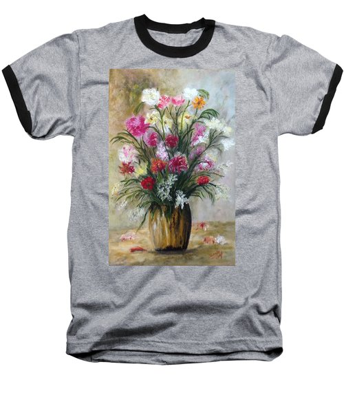Baseball T-Shirt featuring the painting Spring Flowers by Renate Voigt