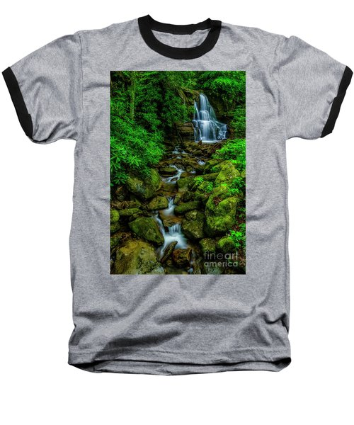 Spring Green Waterfall And Rhododendron Baseball T-Shirt