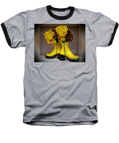 Spring In Yellow Boots Baseball T-Shirt by AmaS Art