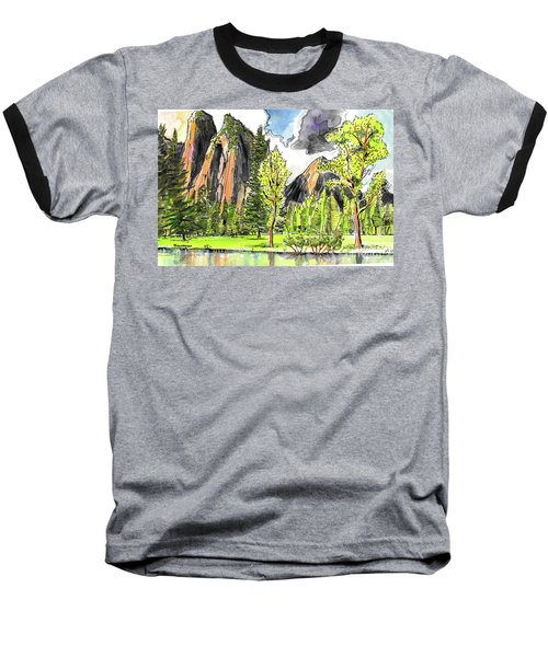Baseball T-Shirt featuring the painting Spring In Yosemite by Terry Banderas