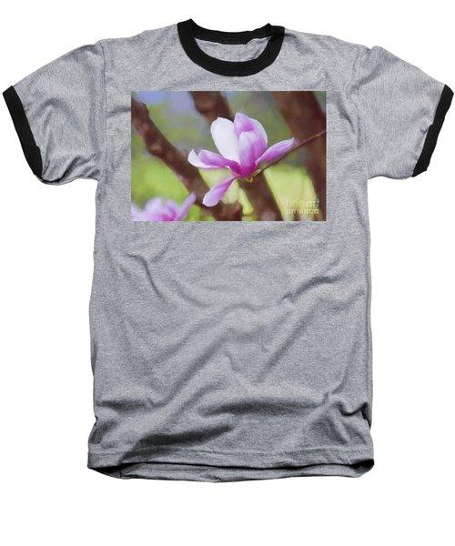 Spring Pink Saucer Magnolia Baseball T-Shirt