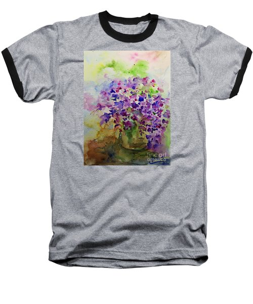 Spring Purple Flowers Watercolor Baseball T-Shirt by AmaS Art