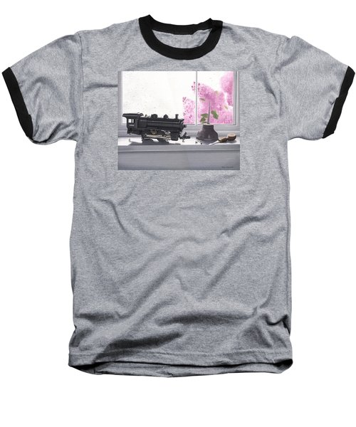Baseball T-Shirt featuring the painting Spring Rain  Electric Train by Gary Giacomelli