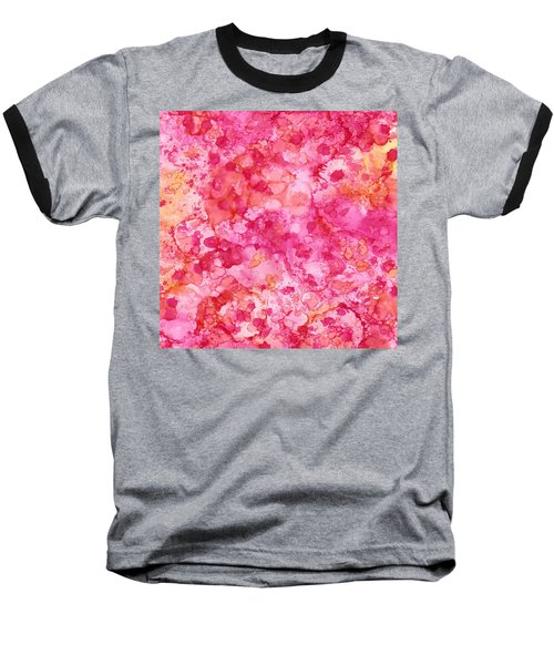 Baseball T-Shirt featuring the painting Spring Rose Abstract by Patricia Lintner