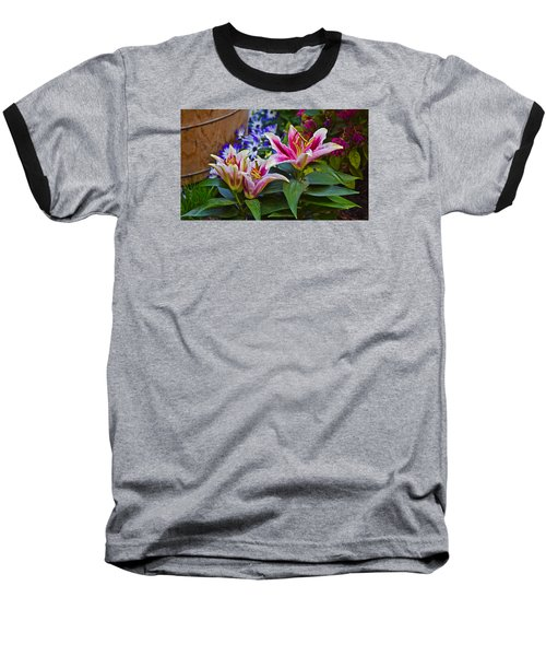 Spring Show 15 Lily Trio Baseball T-Shirt by Janis Nussbaum Senungetuk