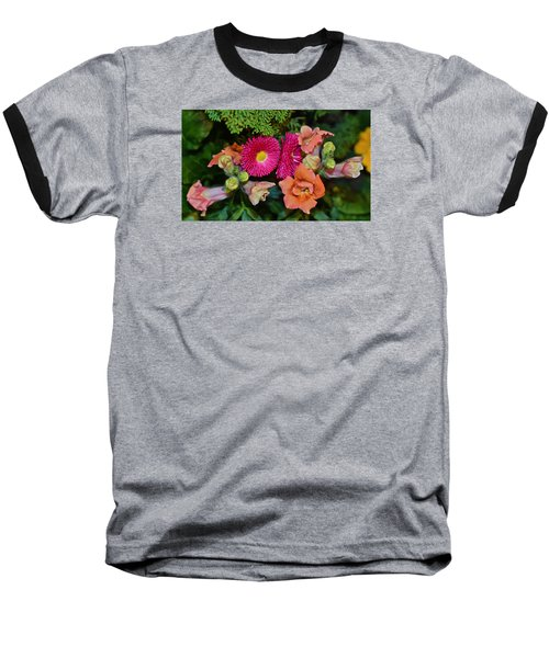 Spring Show 15 Snapdragons And English Daisy Baseball T-Shirt by Janis Nussbaum Senungetuk