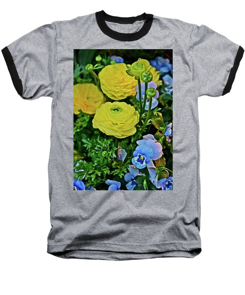 Spring Show 18 Persian Buttercup With Horned Viola Baseball T-Shirt