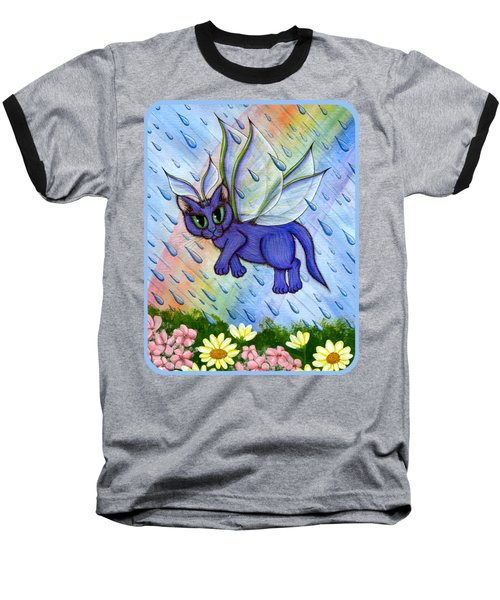Spring Showers Fairy Cat Baseball T-Shirt by Carrie Hawks