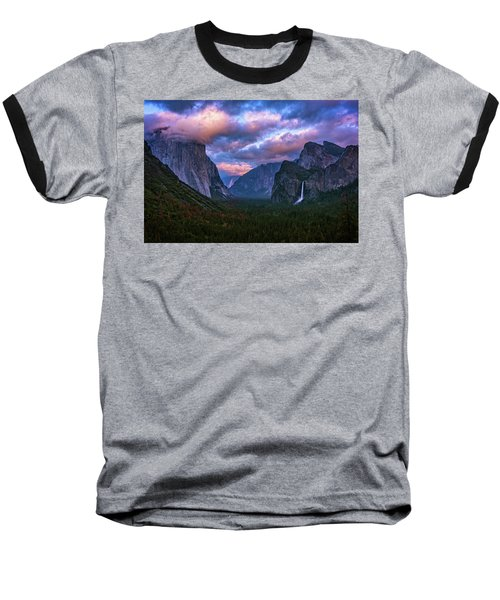 Spring Sunset At Yosemite's Tunnel View Baseball T-Shirt