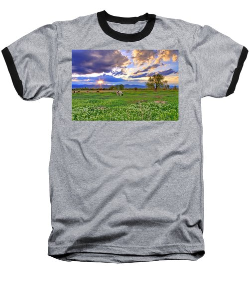 Spring Sunset Over The Rockies Baseball T-Shirt by Scott Mahon