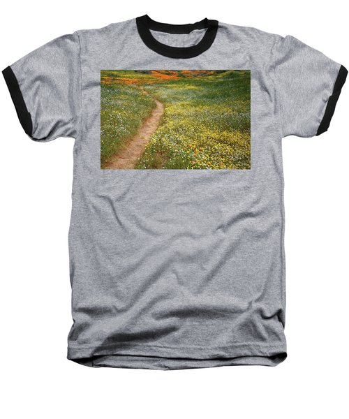 Baseball T-Shirt featuring the photograph Spring Trail Through A Sea Of Wildflowers At Diamond Lake In California by Jetson Nguyen