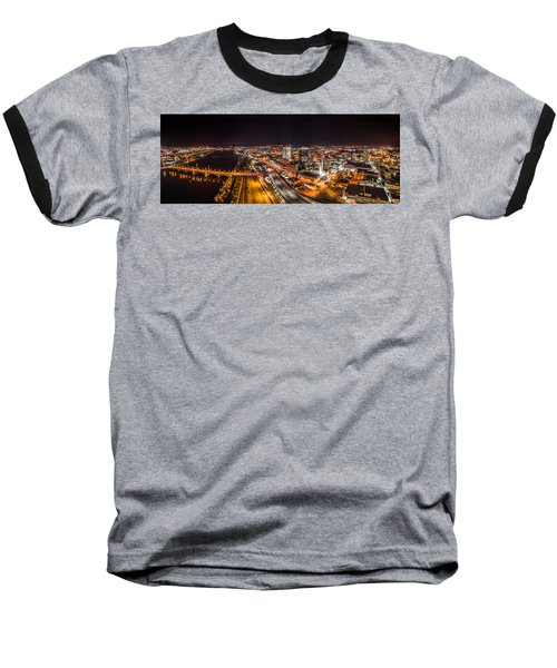 Springfield Massachusetts Night Long Exposure Panorama Baseball T-Shirt