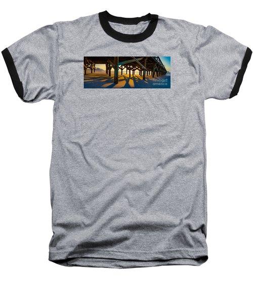 Springmaid Pier At Sunrise Baseball T-Shirt by David Smith