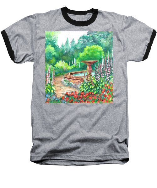 Baseball T-Shirt featuring the painting Springtime Fountain by Val Stokes
