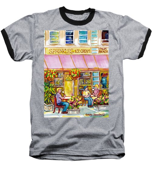 Sprinkles Ice Cream And Sandwich Shop Palm Beach Florida American Watercolor Street Scene C Spandau Baseball T-Shirt