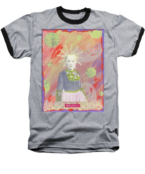 Baseball T-Shirt featuring the mixed media Spunky Got Funky by Desiree Paquette