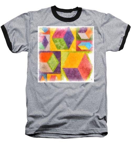 Square Cubes Abstract Baseball T-Shirt