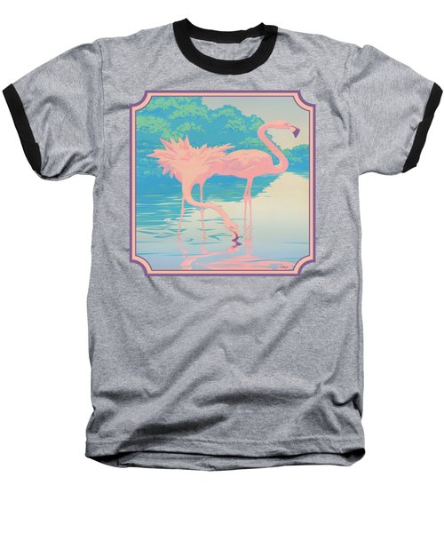 Square Format - Pink Flamingos Retro Pop Art Nouveau Tropical Bird 80s 1980s Florida Painting Print Baseball T-Shirt by Walt Curlee