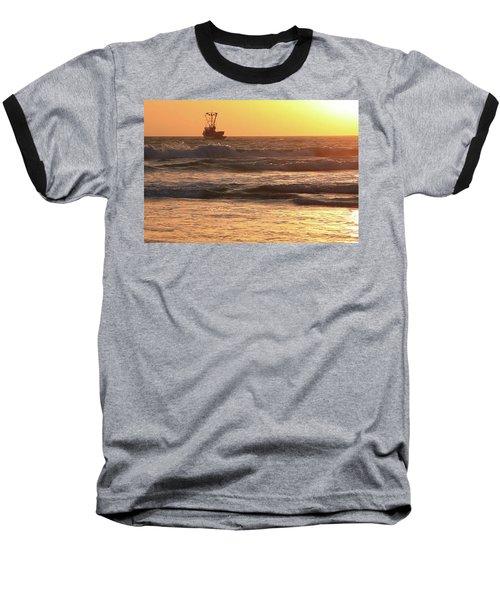 Squid Boat Golden Sunset Baseball T-Shirt