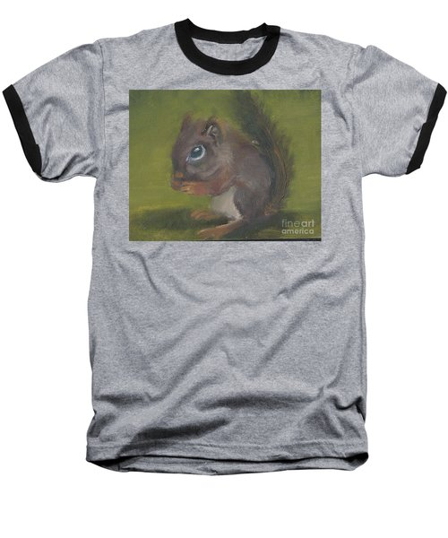 Baseball T-Shirt featuring the painting Squirrel by Jessmyne Stephenson