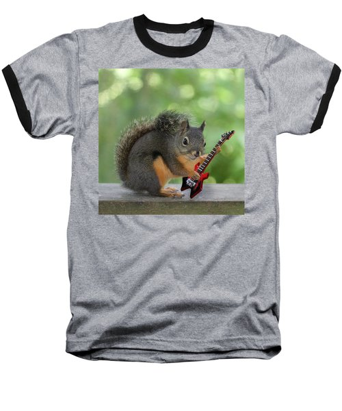 Squirrel Playing Electric Guitar Baseball T-Shirt by Peggy Collins