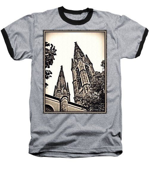 St Boniface Church Towers Sepia Baseball T-Shirt by Sarah Loft