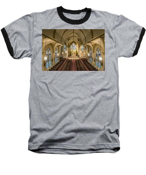 St. Francis Xavier Cathedral Baseball T-Shirt by Andy Crawford