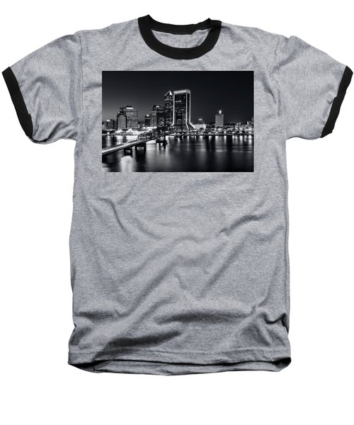 St Johns River Skyline By Night, Jacksonville, Florida In Black And White Baseball T-Shirt