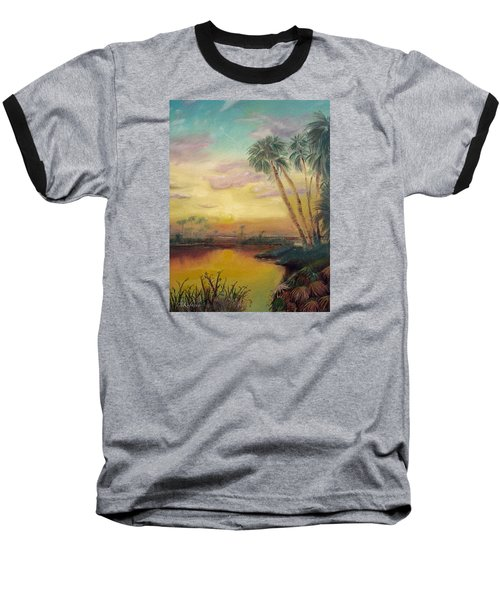Baseball T-Shirt featuring the painting St. Johns Sunset by Dawn Harrell