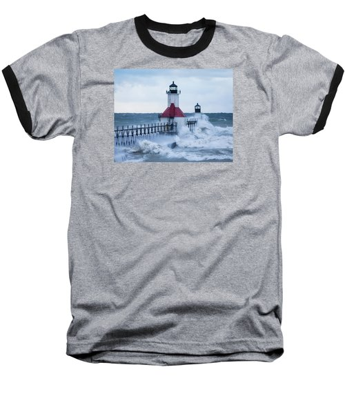 St. Joseph Lighthouse With Waves Baseball T-Shirt