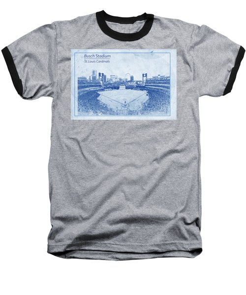 St. Louis Cardinals Busch Stadium Blueprint Words Baseball T-Shirt by David Haskett