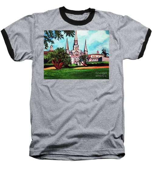 St. Louis Cathedral New Orleans Art Baseball T-Shirt by Ecinja Art Works